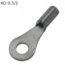 KO 0,5/2 - Наконечник кольцевой под винт М2, без изоляции, лужёный, медный, упак {100шт}