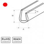 OKU 8/4 RD - П-образный профиль для защиты кромок, ПВХ, красный, рул {25м}