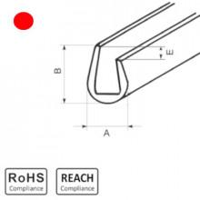 OKU 5/2,5 RD - П-образный профиль для защиты кромок, ПВХ, красный, рул {25м}