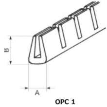 OPC-1 - П-образный профиль для защиты кромок, ПВХ, черная, с надрезами, рул {50м}